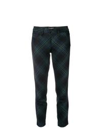 Pantalones pitillo a cuadros verde oscuro de Cambio
