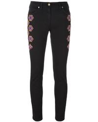 Pantalones pitillo bordados negros de Etro