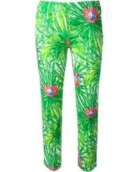 Pantalones pitillo con estampado geométrico verdes de Jo No Fui