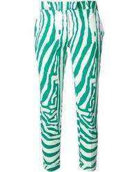 Pantalones pitillo con estampado geométrico verdes