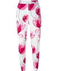 Pantalones pitillo con print de flores blancos de Armani Jeans