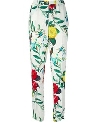 Pantalones pitillo con print de flores en blanco y verde de Armani Jeans