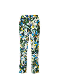 Pantalones pitillo con print de flores en multicolor de Erdem