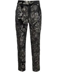 Pantalones pitillo con print de flores negros de A.L.C.