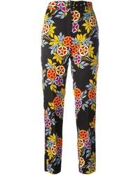 Pantalones pitillo con print de flores negros de MSGM
