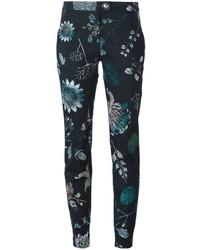 Pantalones pitillo con print de flores negros de Versus