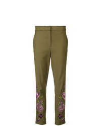 Pantalones pitillo con print de flores verde oliva de Josie Natori