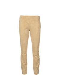Pantalones pitillo de cuero amarillos de The Row