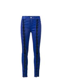 Pantalones pitillo de cuero azul marino de Filles a papa