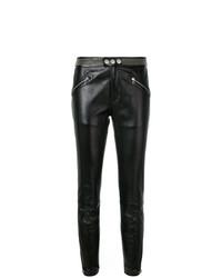 Pantalones pitillo de cuero con tachuelas negros de RED Valentino