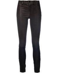 Pantalones pitillo de cuero en gris oscuro de J Brand