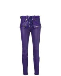 Pantalones pitillo de cuero en violeta de Unravel Project