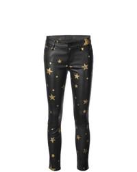 Pantalones pitillo de cuero estampados negros de RtA