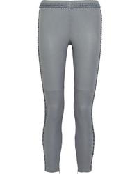 Pantalones pitillo de cuero grises