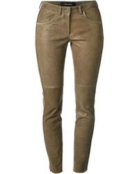 Pantalones pitillo de cuero marrónes de Isabel Marant