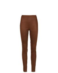 Pantalones pitillo de cuero marrónes de Nk