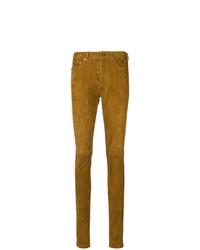 Pantalones pitillo de cuero marrónes de Saint Laurent