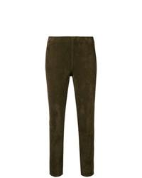 Pantalones pitillo de cuero marrónes de Vince