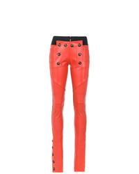 Pantalones pitillo de cuero naranjas de Andrea Bogosian