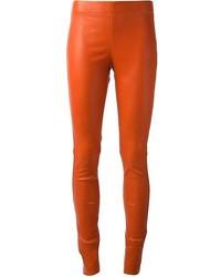 Pantalones pitillo de cuero naranjas de Joseph