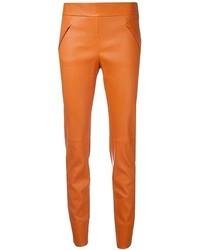 Pantalones pitillo de cuero naranjas