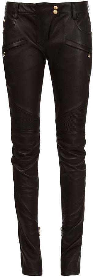Pantalones pitillo de cuero negros de Balmain