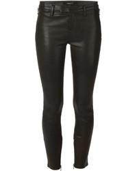 Pantalones pitillo de cuero negros de J Brand