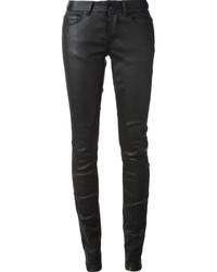 Pantalones pitillo de cuero negros de Rick Owens