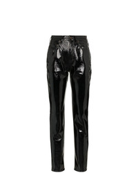 Pantalones pitillo de cuero negros de Saint Laurent