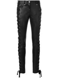 Pantalones pitillo de cuero negros de Versus