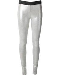 Pantalones pitillo de cuero plateados de Drome