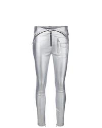 Pantalones pitillo de cuero plateados de RtA
