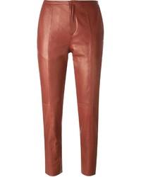 Pantalones pitillo de cuero rojos de Forte Forte