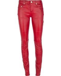 Pantalones pitillo de cuero rojos de Saint Laurent