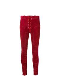 Pantalones pitillo de cuero rojos de Unravel Project