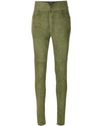Pantalones pitillo de cuero verde oliva de Isabel Marant