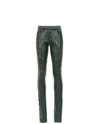 Pantalones pitillo de cuero verde oscuro