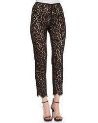 Pantalones pitillo de encaje negros