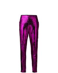 Pantalones pitillo de lentejuelas morado oscuro de Laneus