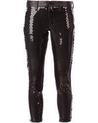 Pantalones pitillo de lentejuelas negros