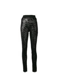 Pantalones pitillo de lentejuelas negros de Amen