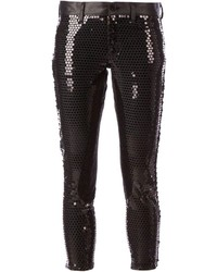 Pantalones pitillo de lentejuelas negros de Comme des Garcons