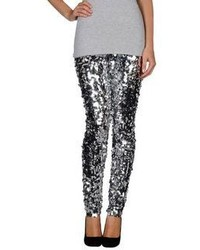 Pantalones pitillo de lentejuelas plateados