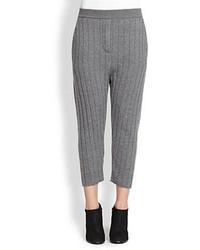 Pantalones pitillo de punto grises