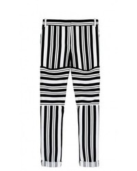 Pantalones pitillo de rayas horizontales en negro y blanco