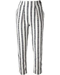 Pantalones pitillo de rayas verticales en negro y blanco de Kenzo