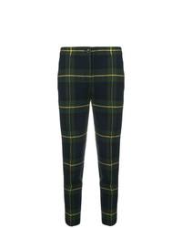Pantalones pitillo de tartán en azul marino y verde de Boutique Moschino