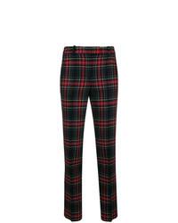 Pantalones pitillo de tartán negros