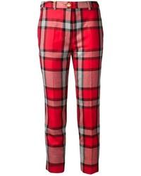 Pantalones pitillo de tartán rojos
