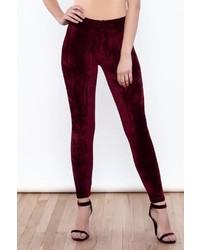 Pantalones Pitillo de Terciopelo Burdeos